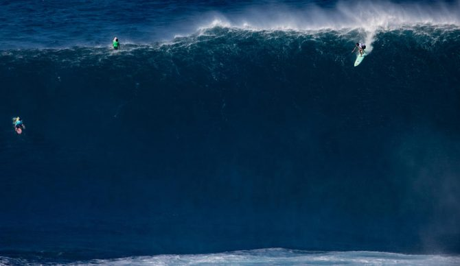 Ian Walsh surfing a big wave at Jaws (peahi)