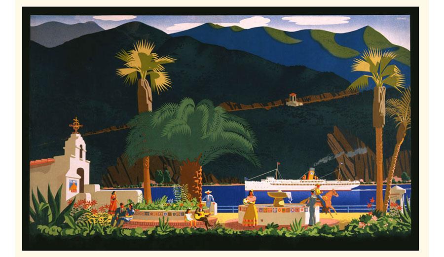 Otis Shepard Santa Catalina silkscreen art
