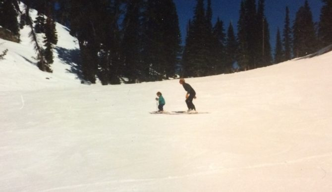 Skier Forrest Jillson learning to ski at jackson hole