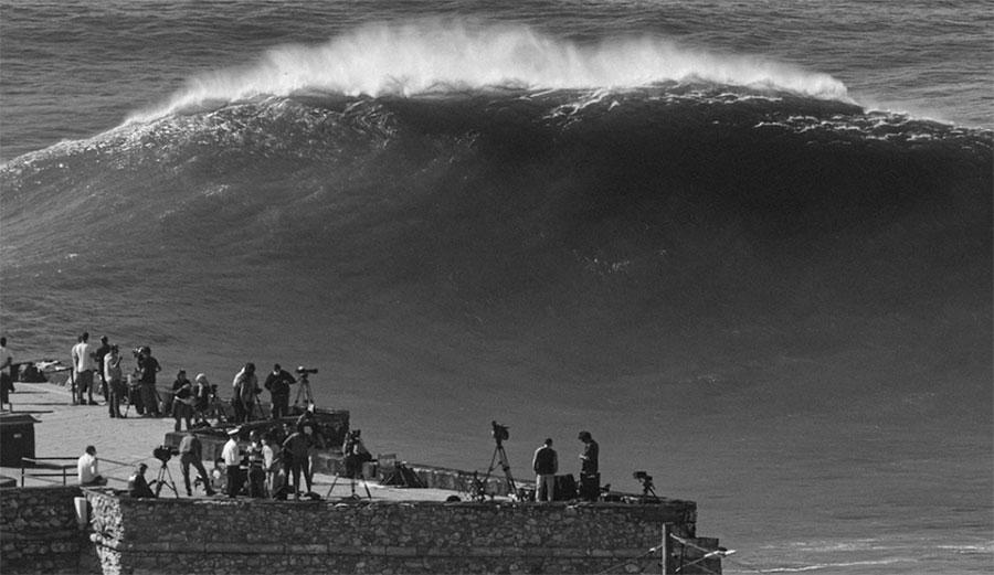 Nazare big wave surfing spectators