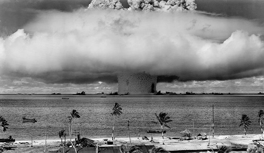 Nuclear bomb exploding in Bikini atoll