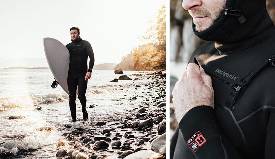 Man waking in Patagonia R4 Yulex wetsuit