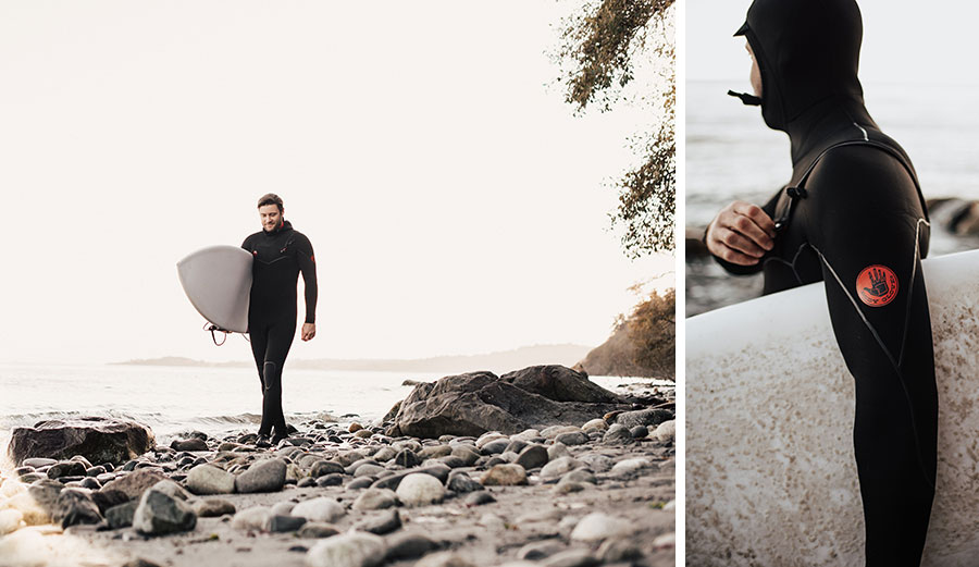 Man walking in wetsuit