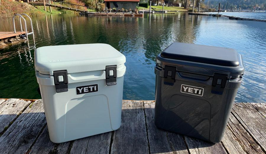 Yeti Roadie 24 coolers on a dock
