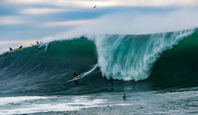 steve rice on the wave at mavericks shot by Todd Turner