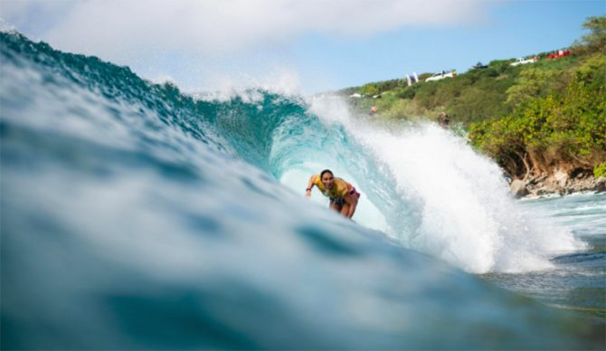 Carissa Moore in the barrel at Honolua Bay