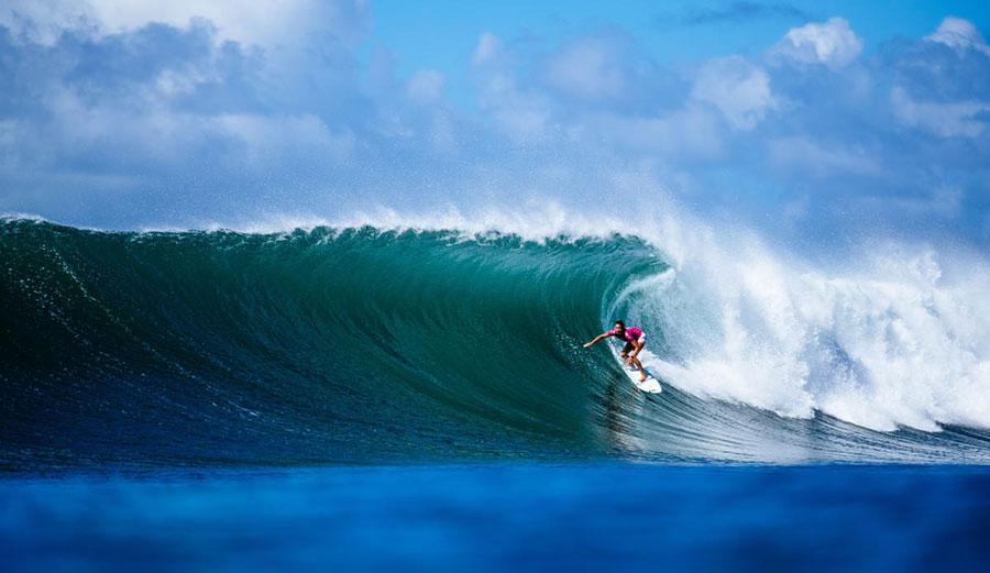 Malia Manuel surfing at Honolua Bay