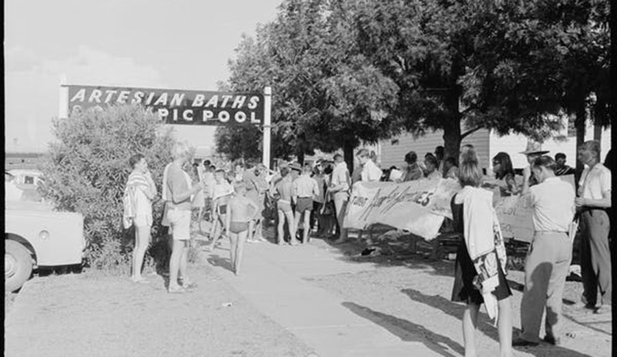 Student Action for Aborigines protest outside Moree Artesian Baths, 1965.