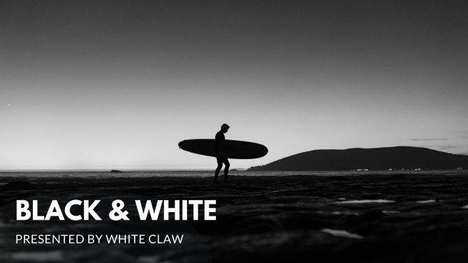Black and White Walking Surfer Sillhouette