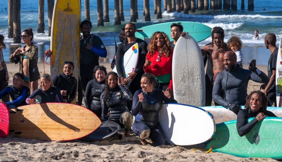 The Black Sand Peace Paddle at Manhattan Beach on Sunday, February 21.