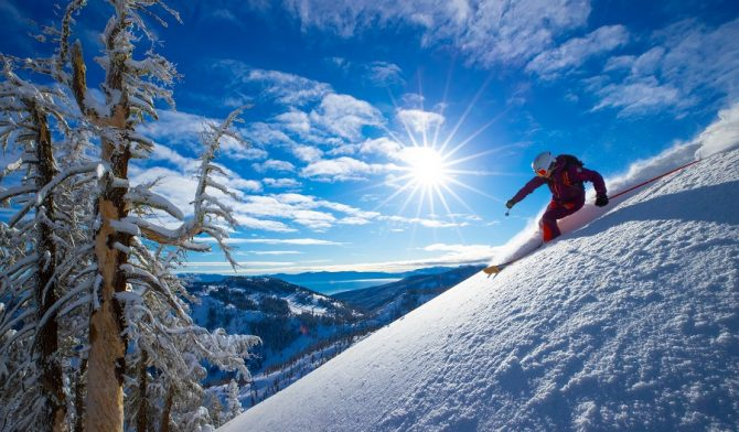 Amie Engerbretson skiing at Alpine Meadows