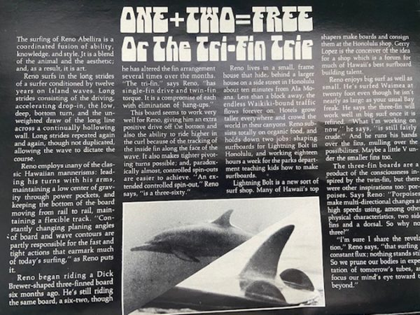 a story about thrusters in SURFER magazine