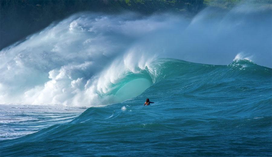 Surfer watches wave