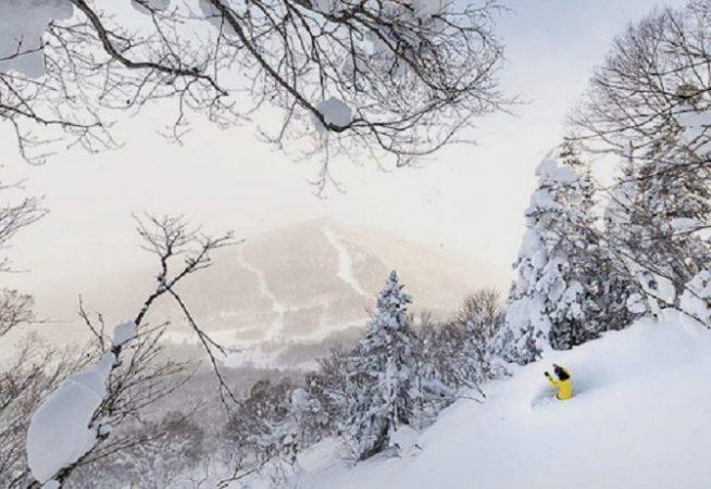 snowboarding in hachimantai, japan