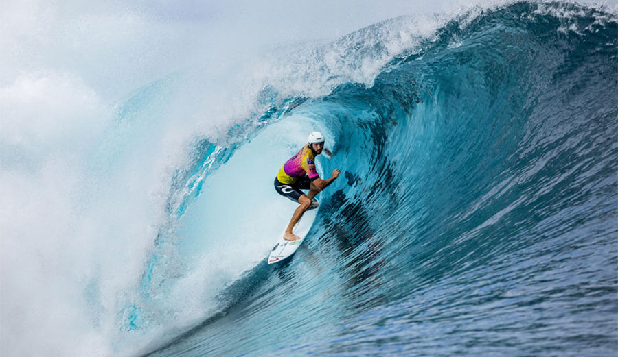 Owen Wright, a few years after his head injury, surfing at Teahupoo
