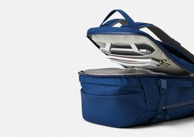 the yeti crossroads 35 liter backpack clamshell opening allows easy access to cargo area and laptop compartment.