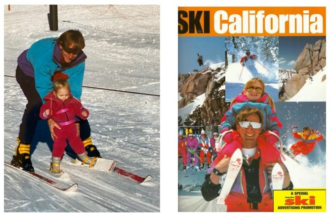 Left: First time skiing. 10-months-old, with Dad, on the rope tow at Squaw. Right: Full of stoke, Amie's first cover, with Dad.