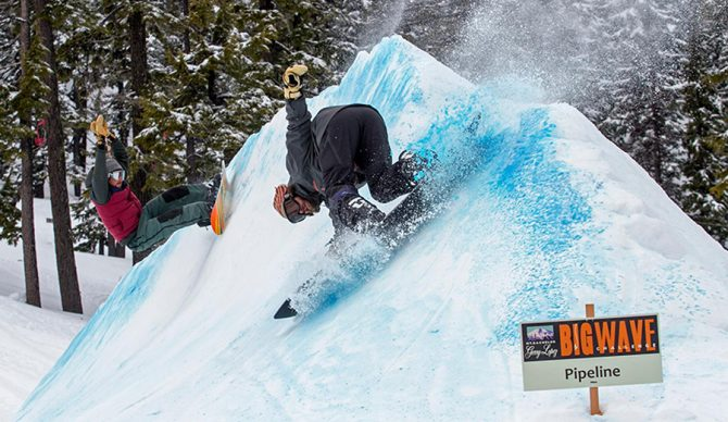 A snowboarder at the Big Wave Challenge at Mt. Bachelor