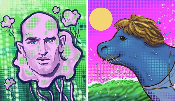 Caricatures of Kelly Slater and Dane Reynolds