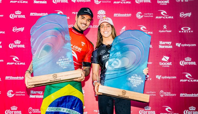 Gabriel Medina and Caroline Marks on the victors stand in Narrabeen