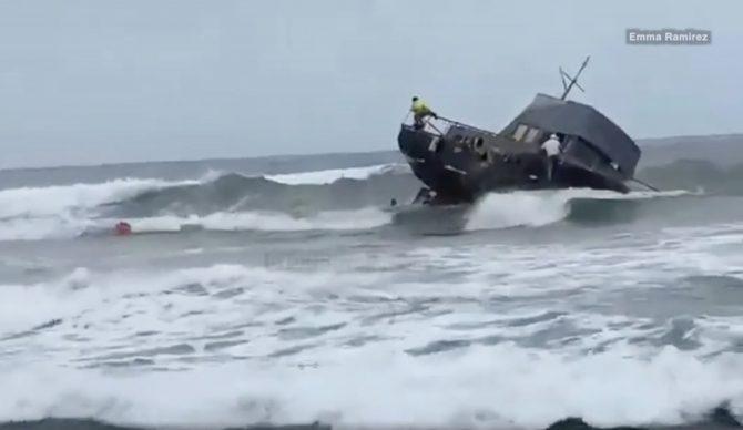 Boat in surf