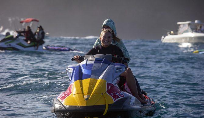 Izzi Gomez on a jet ski at jaws