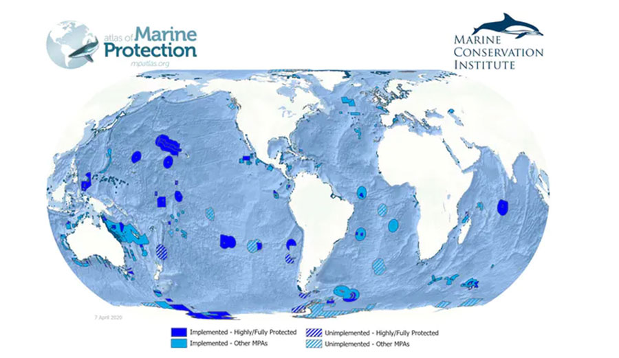 Global marine protection as of April 2020
