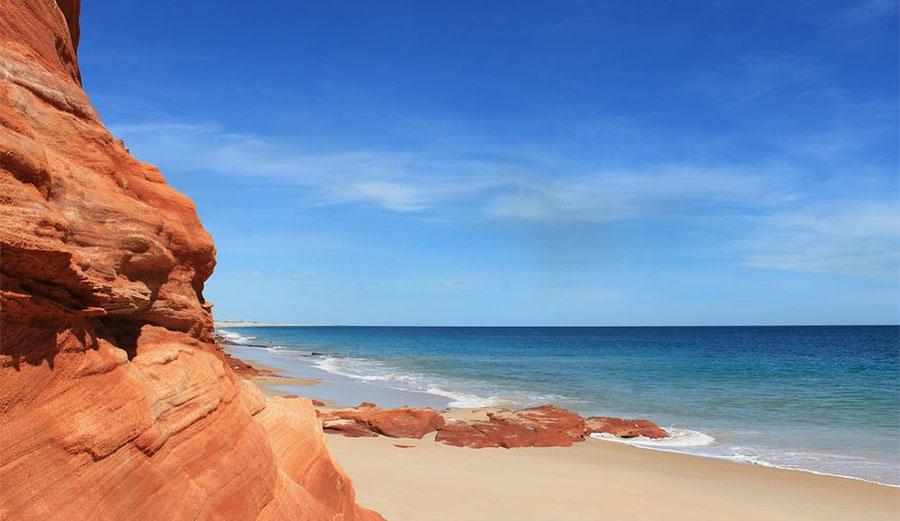 Sandy beaches, including those around South Australia and Western Australia