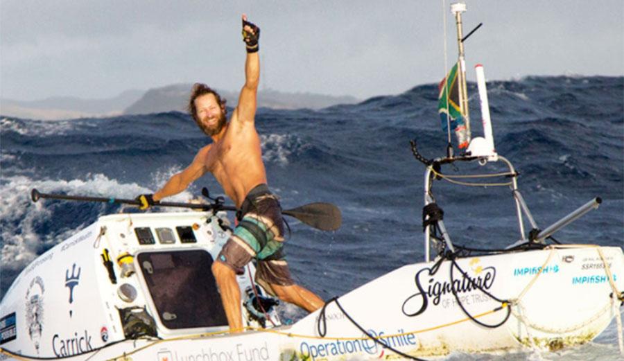 Chris Bertish during the 2017 crossing of Atlantic