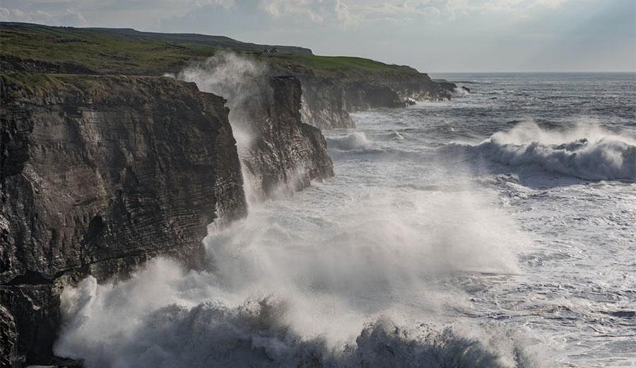 Ocean hitting cliffs