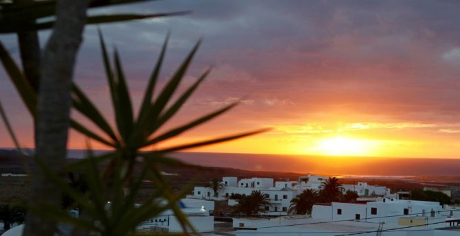 sunset views from Oasis Surf House