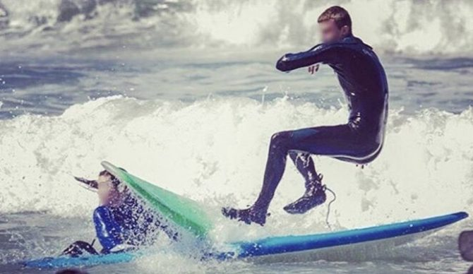 """Honestly, how mad can you get at a kid who, while smiling and having a blast, steamrolls you on his Wavestorm? Pretty mad if that """"kid"""" is a 40-50 year old dude on a fiberglass longboard. Photo: @kookoftheday"""