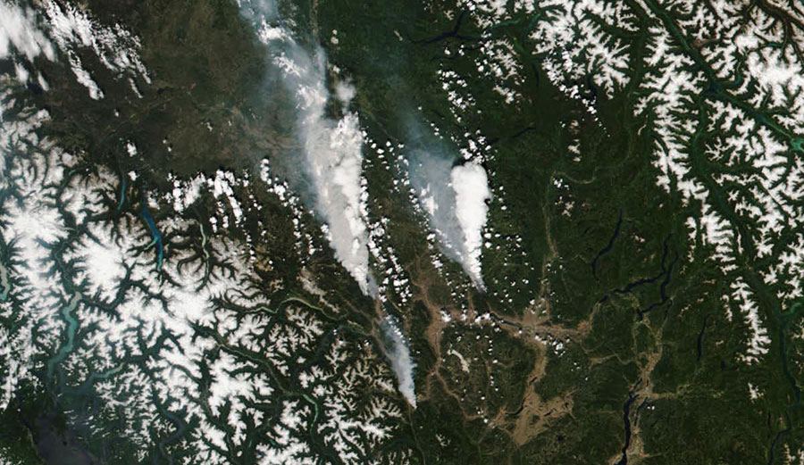 fires spread across the landscape