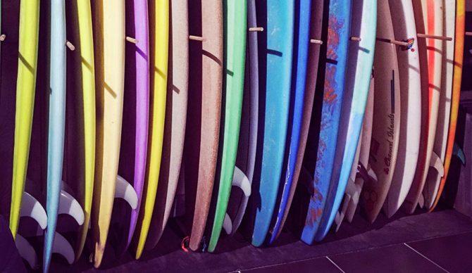 Surfboard line up